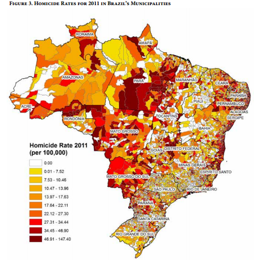Brazil Homicides in Municipalities http://www.insightcrime.org/news-analysis/brazil-homicide-map-micro-level