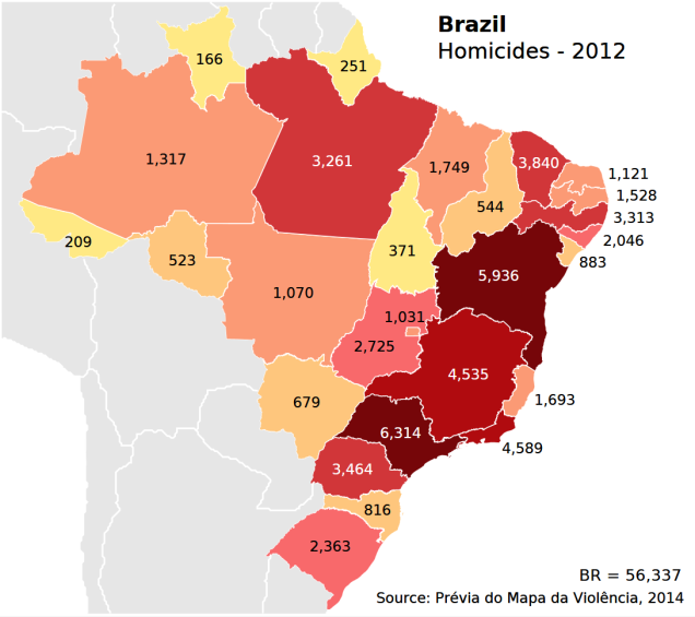 Brazil 2012 Homicide by Region http://mapsontheweb.zoom-maps.com/post/90261933427/homicide-rates-in-brazil-per-100000-inhabitants