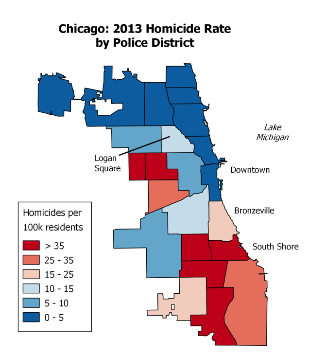 Homicides by Police District in Chicago http://www.newrepublic.com/article/118003/maps-crime-chicago-crime-different-neighborhoods